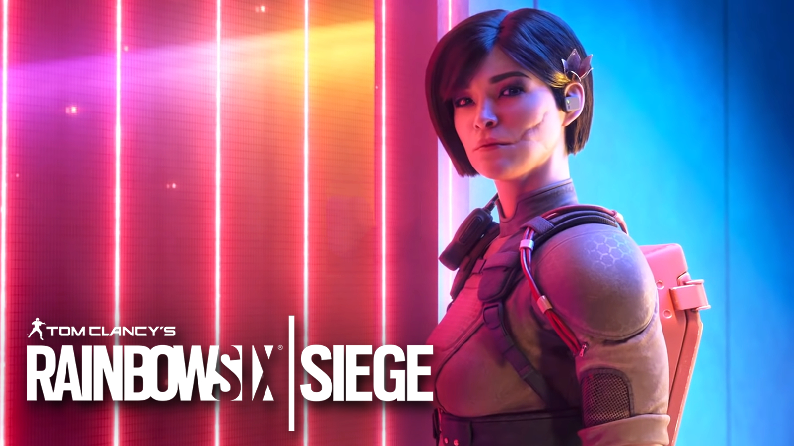 New Rainbow Six Siege operator Aruni stands in front of laser gate.
