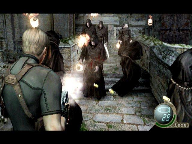 Leon shoots enemies