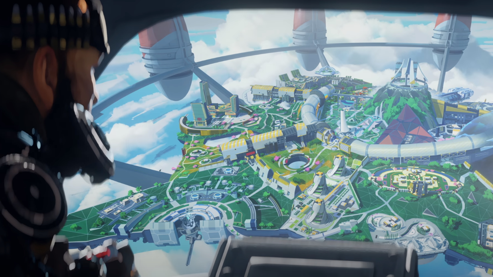 Mirage looks out at Olympus in Apex Legends Season 7.