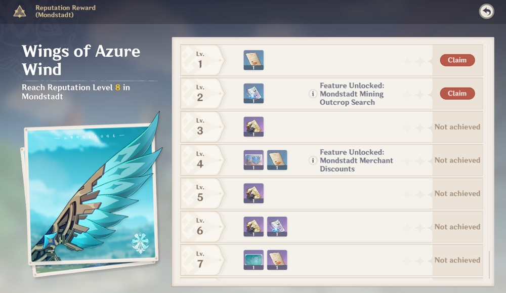 Genshin Impact Reputation rewards