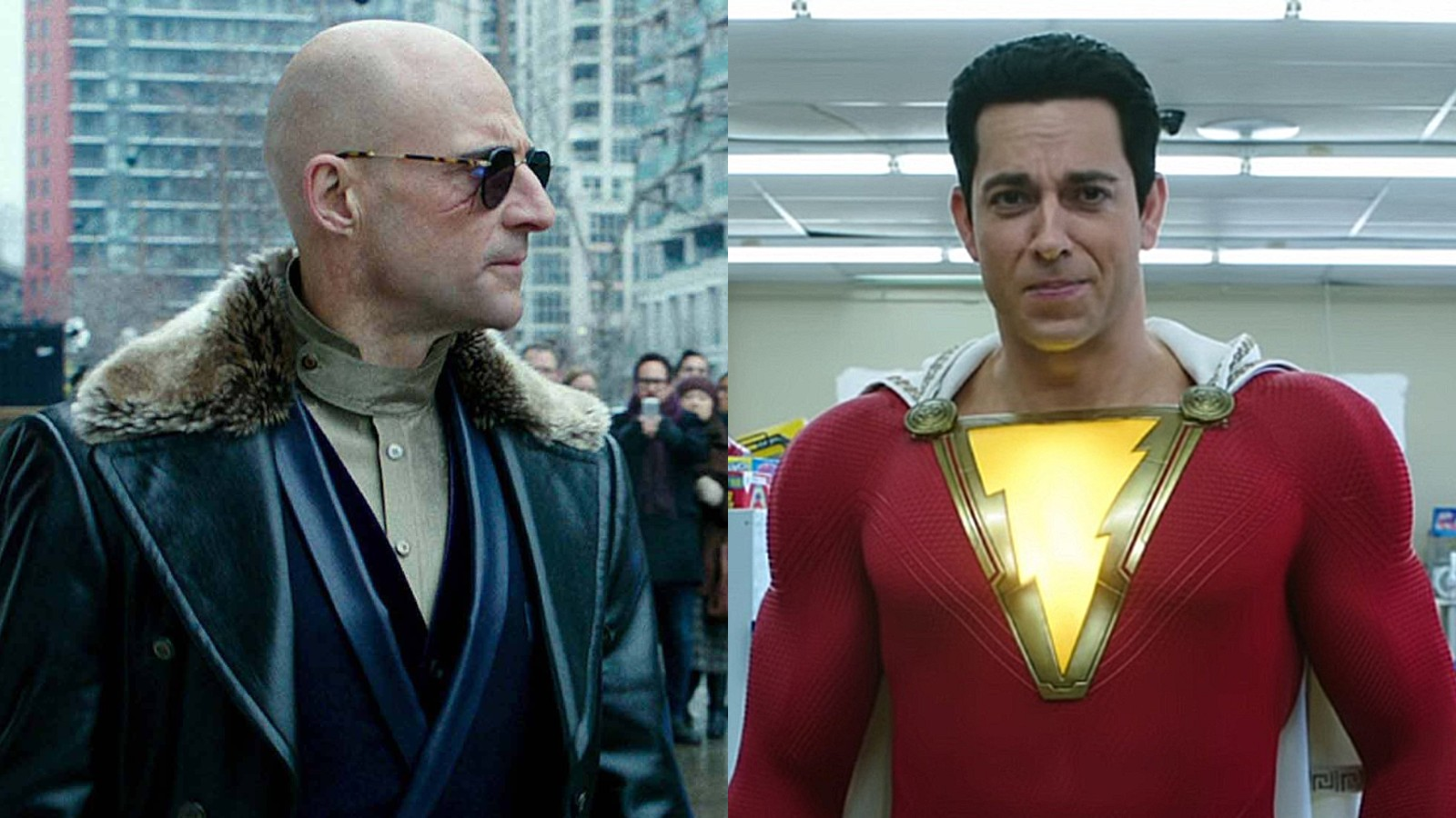 Mark Strong and Zachary Levy in Shazam!