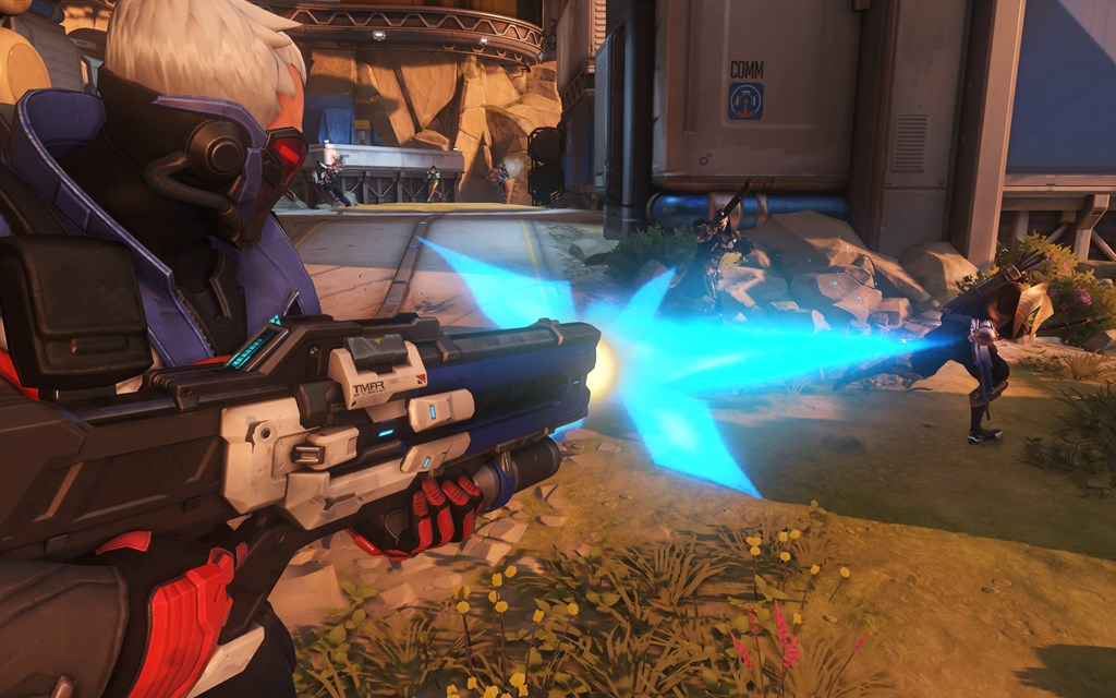 Soldier 76 fires at foes