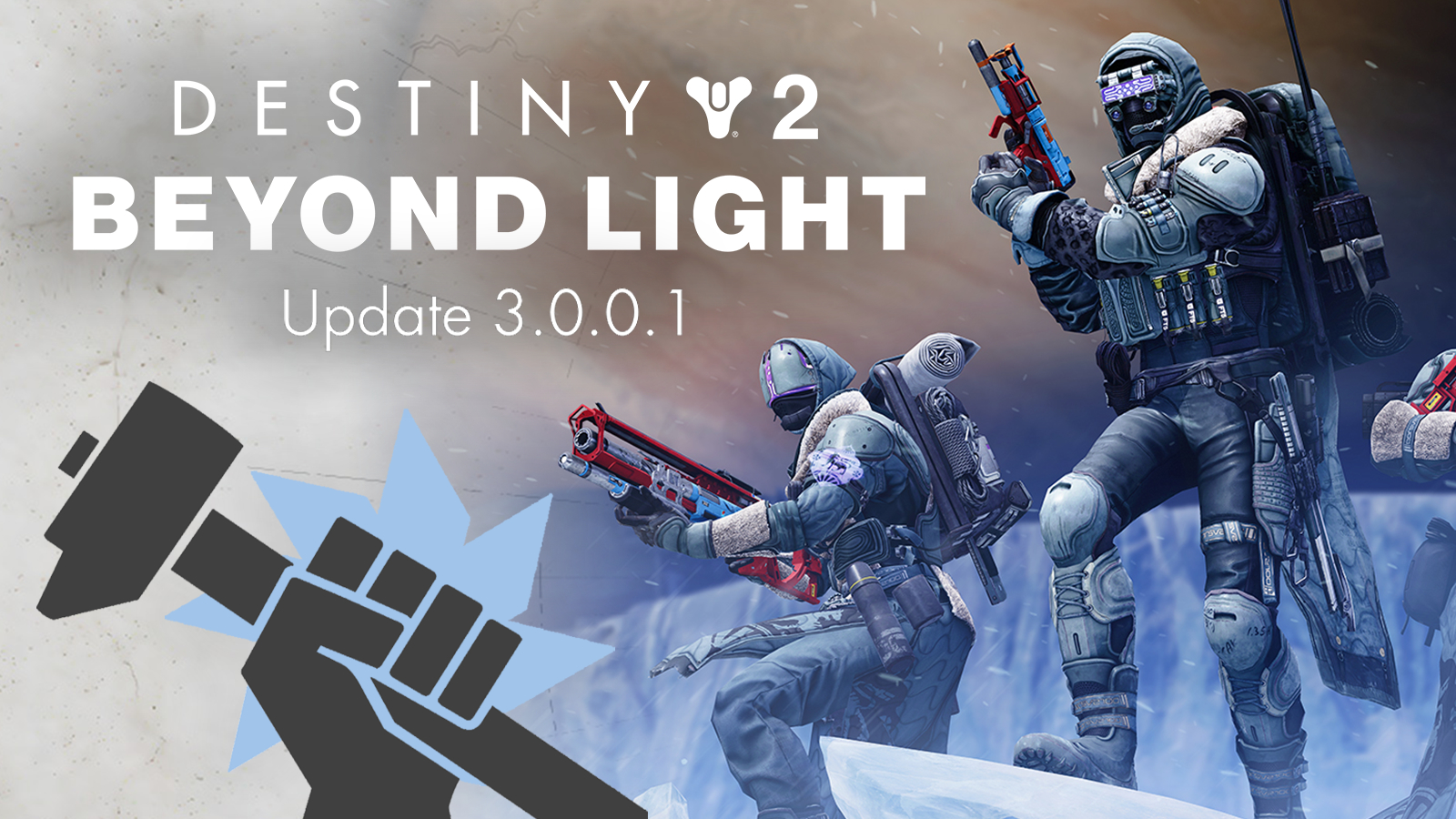 Destiny 2 Beyond Light update 3.0.0.1 patch notes on Guardian image.