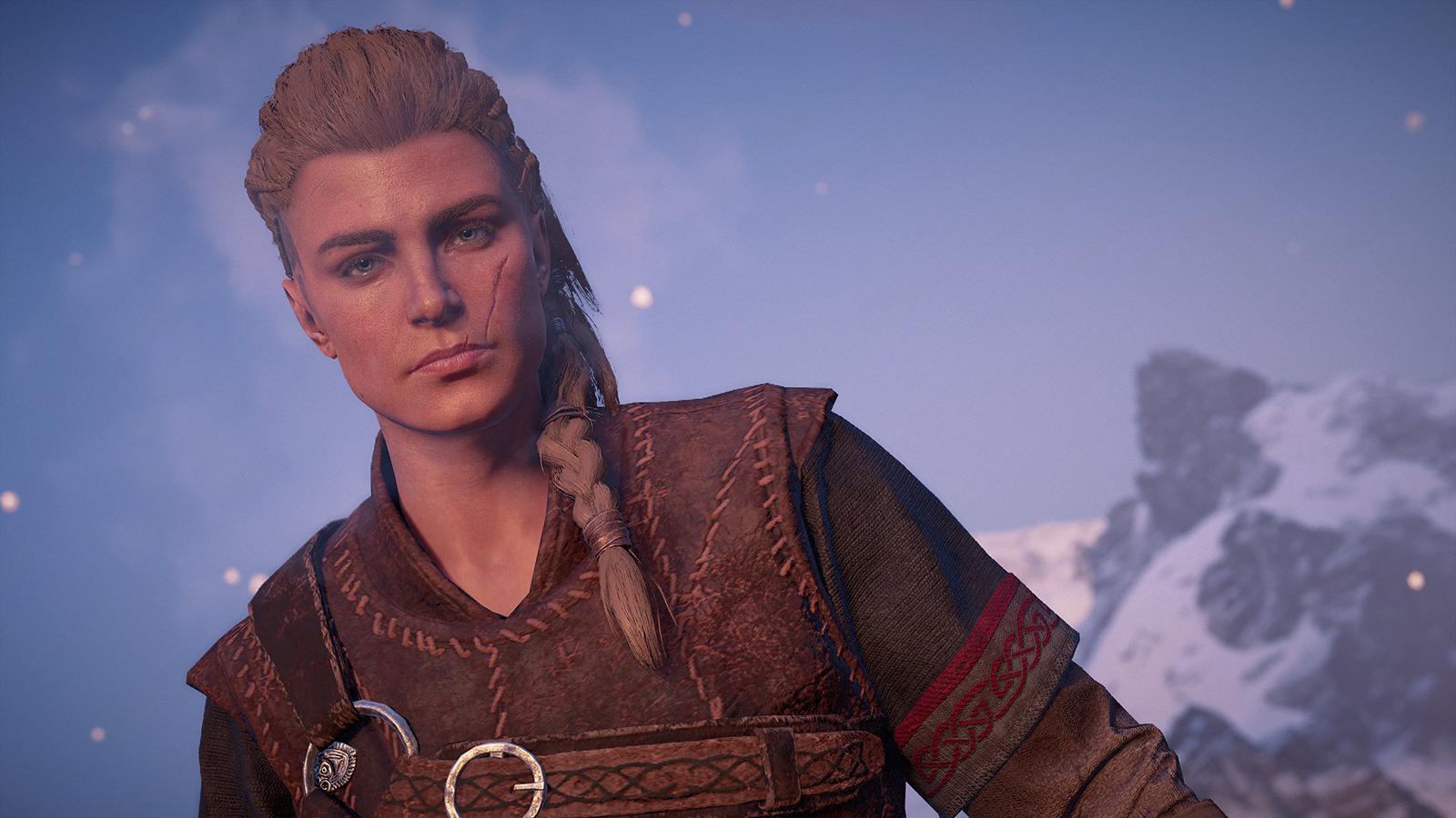 Portrait of Eivor in Valhalla using photo mode