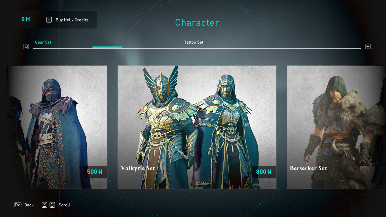 Valhalla Valkyrie set in the item store