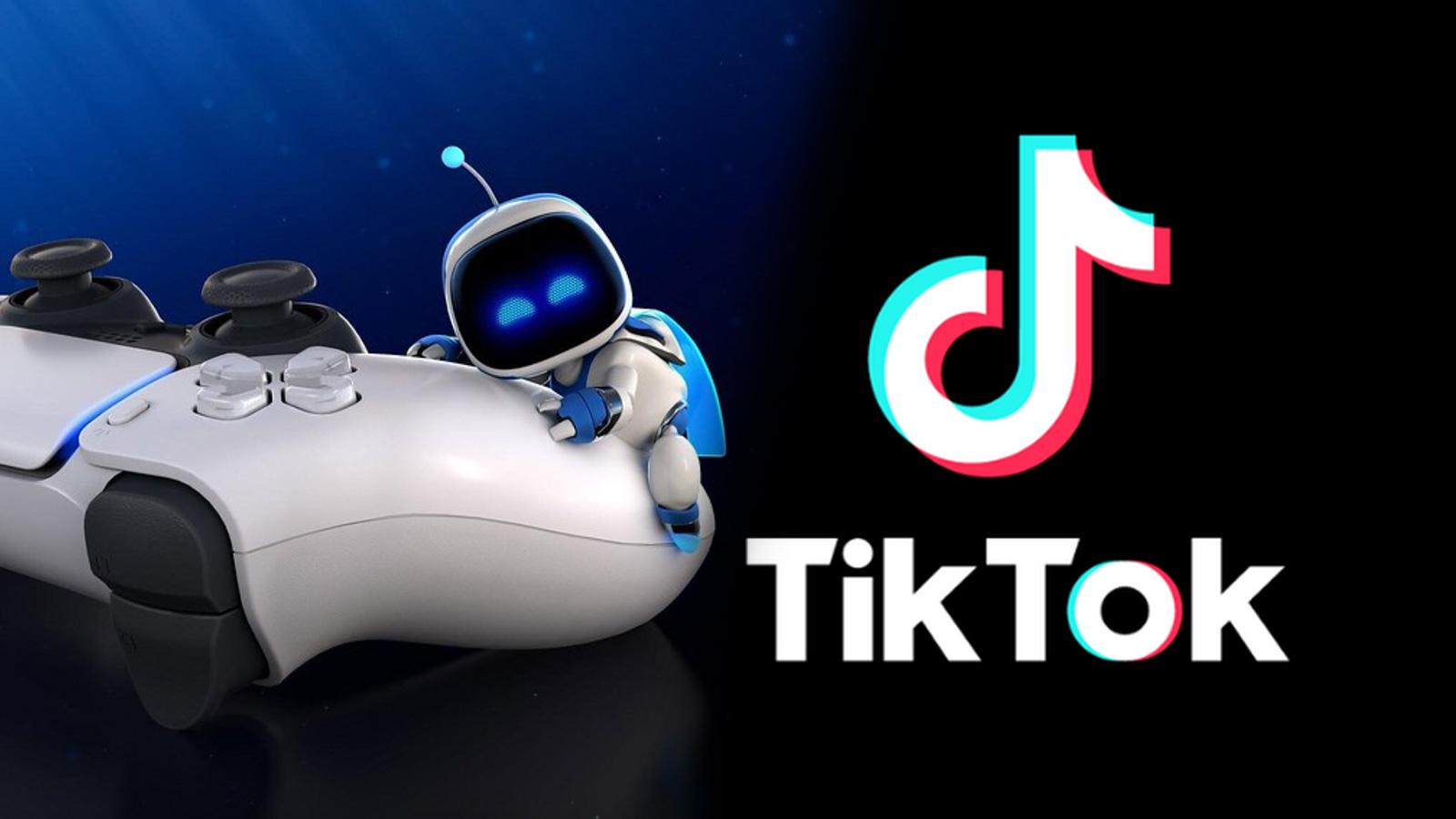 PlayStation 5 Dual Sense controller with TikTok logo.