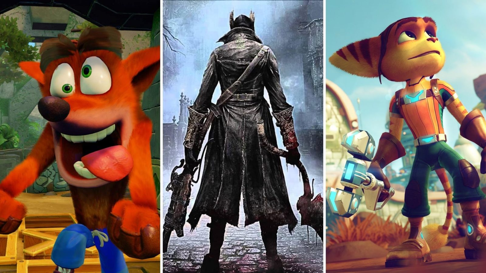 crash bandicoot, bloodborne hunter, ratchet in ps plus collection feature image