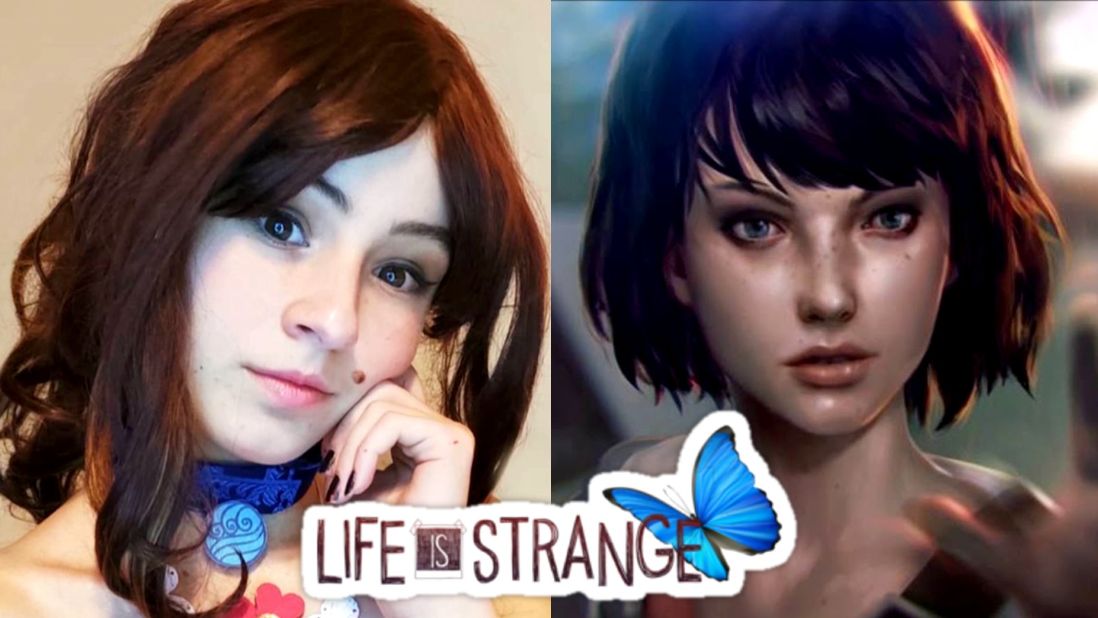 Cosplayer alexya.cos next to Max Caulfield from Life is Strange with the Life is Strange logo