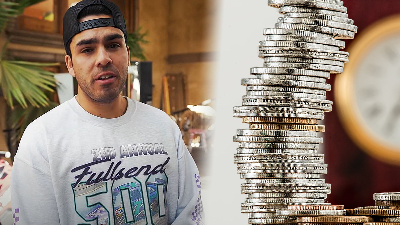 A photo of the NELK Boys' Kyle Foregard shown beside a picture of coins.