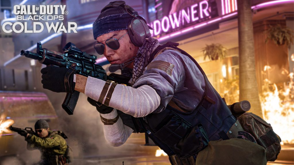 Black Ops Cold War character pointing a gun on the Miami map