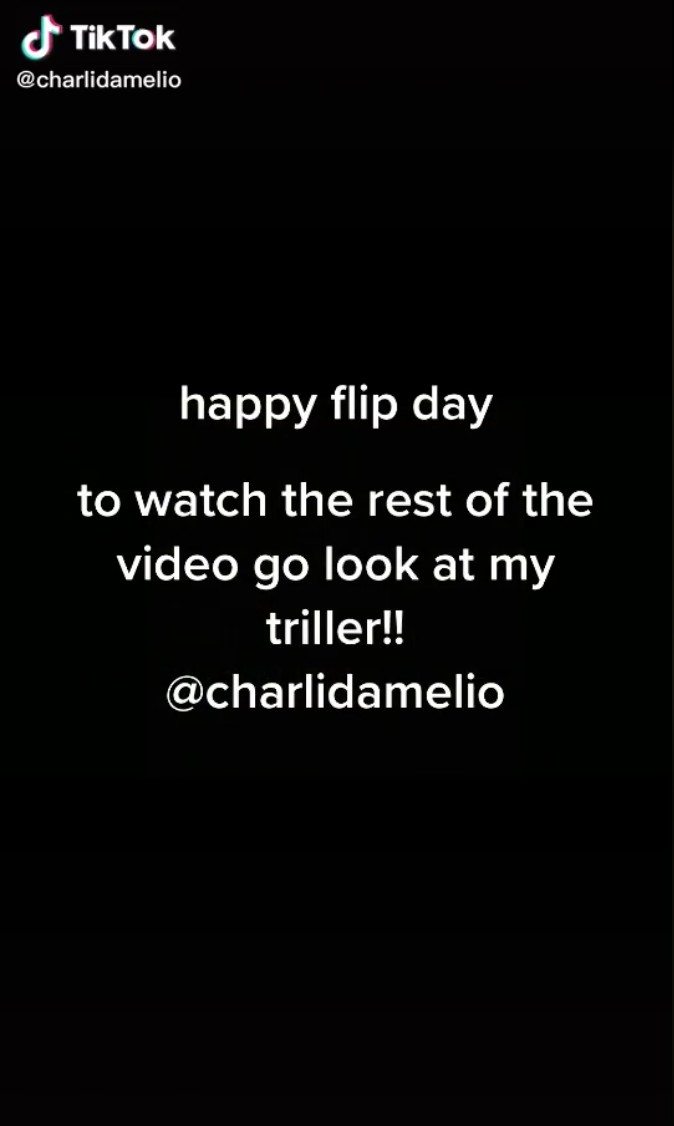 White text on a black background of Charli D'Amelio discussing Flip Day