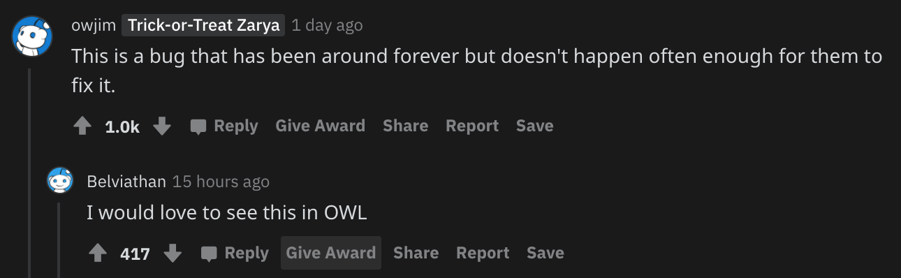 Screenshot of a Reddit comment from the Overwatch subreddit