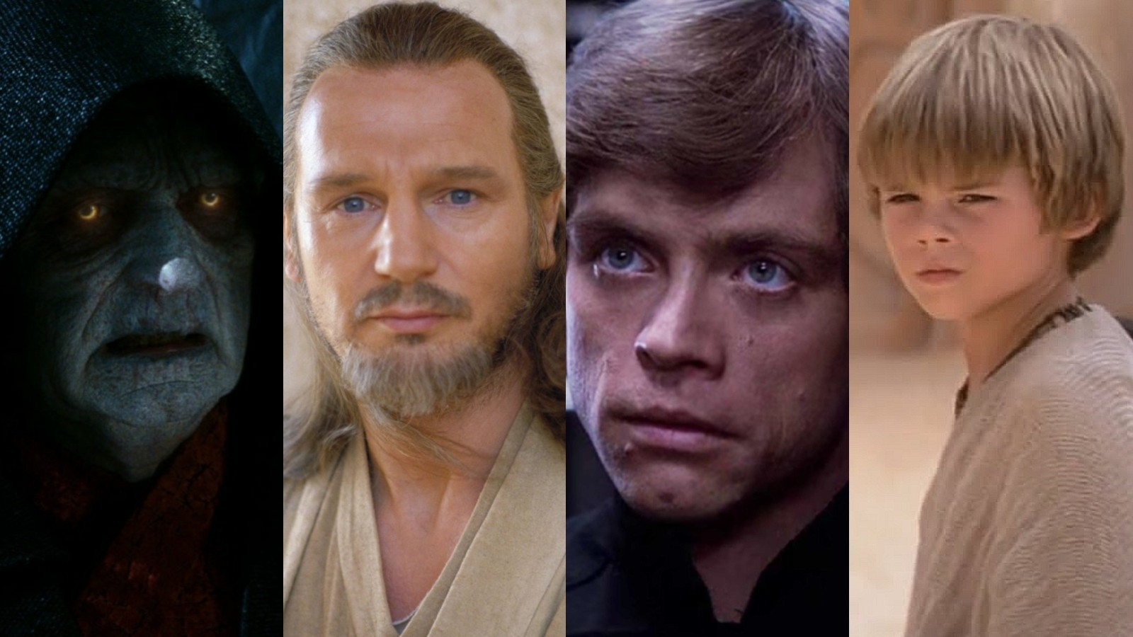 Palpatine, Qui-Gon Jinn, Luke Skywalker and Anakin Skywalker in Star Wars