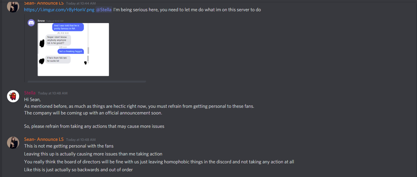 Sean, a moderator of the server, being stoppoed from taking down the abusive messages