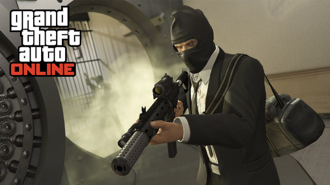 GTA Online character in a bank vault