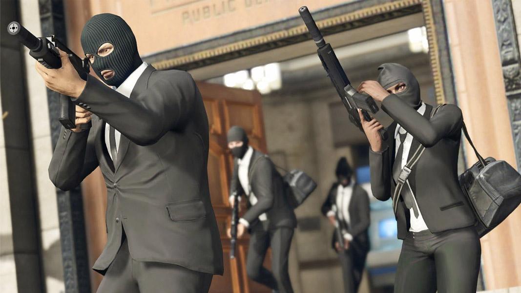 GTA Online characters in the Pacific Standard heist.