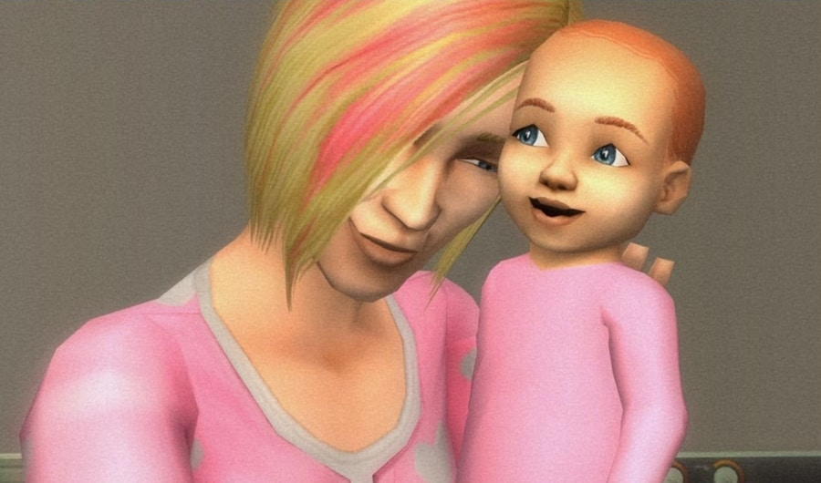 The Sims 2 picture of a lady with pink hair and a baby dresses in pink clothing.