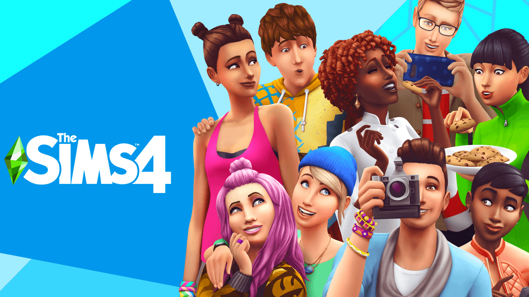 The Sims 4 updated key art on a blue background with the logo