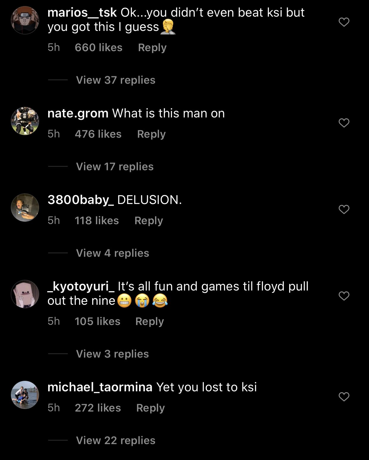 Commenters decry Logan Paul's bragging comments about Floyd Mayweather.