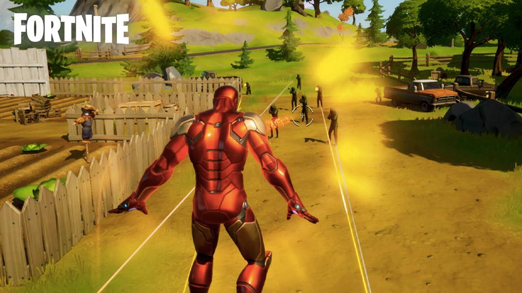 Iron Man using the Unibeam ability in Fortnite.