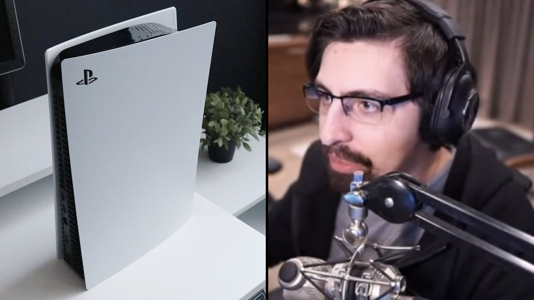 Shroud next to a PS5 console
