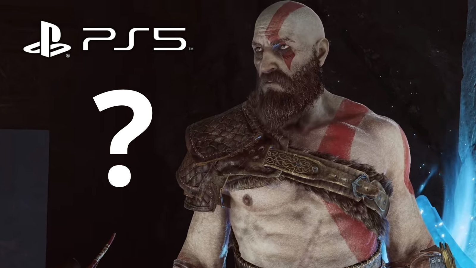 kratos in god of war and PS5 logo