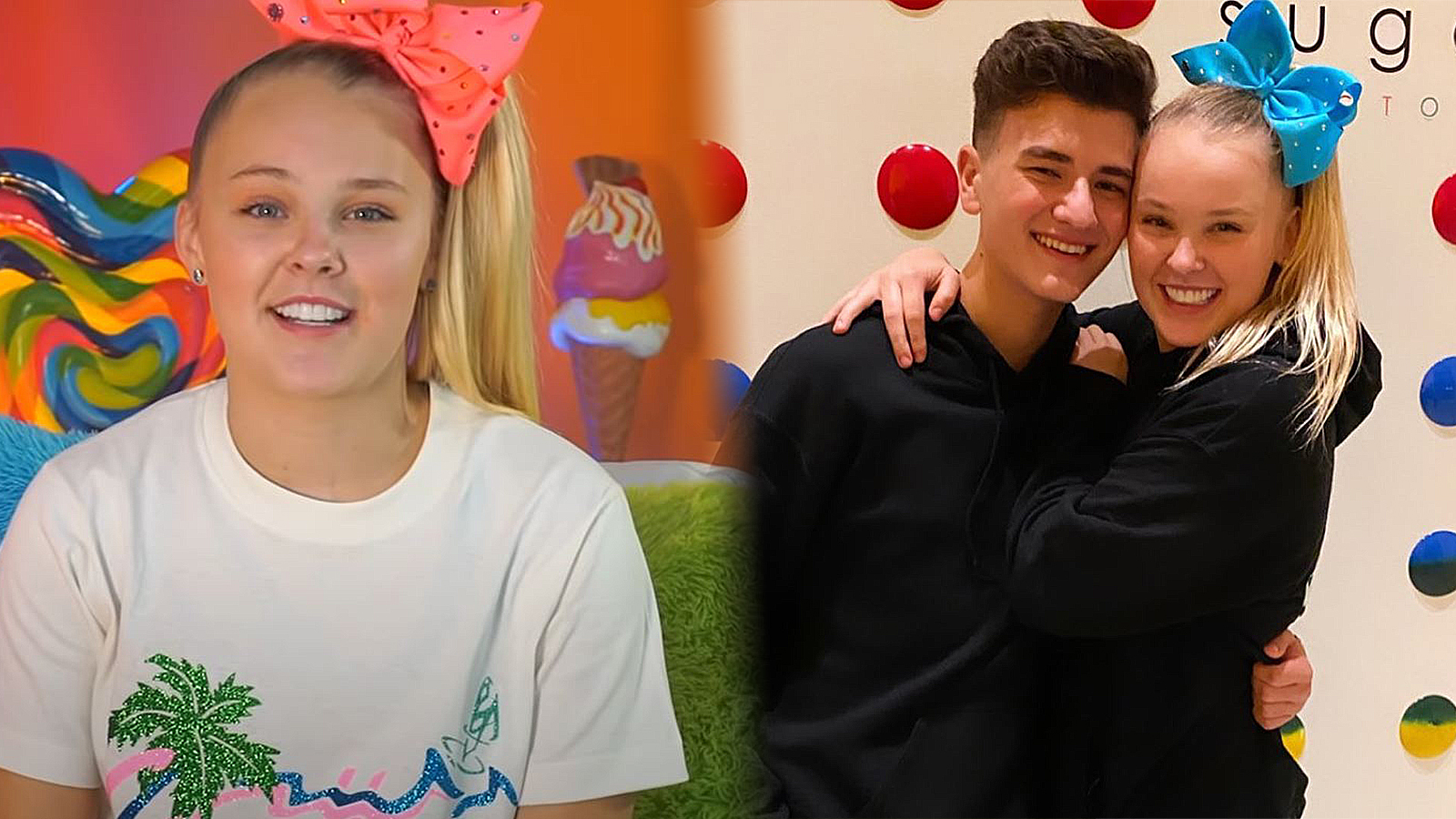 A photo of JoJo Siwa is shown next to another photo of herself and Mark Bontempo having a hug.
