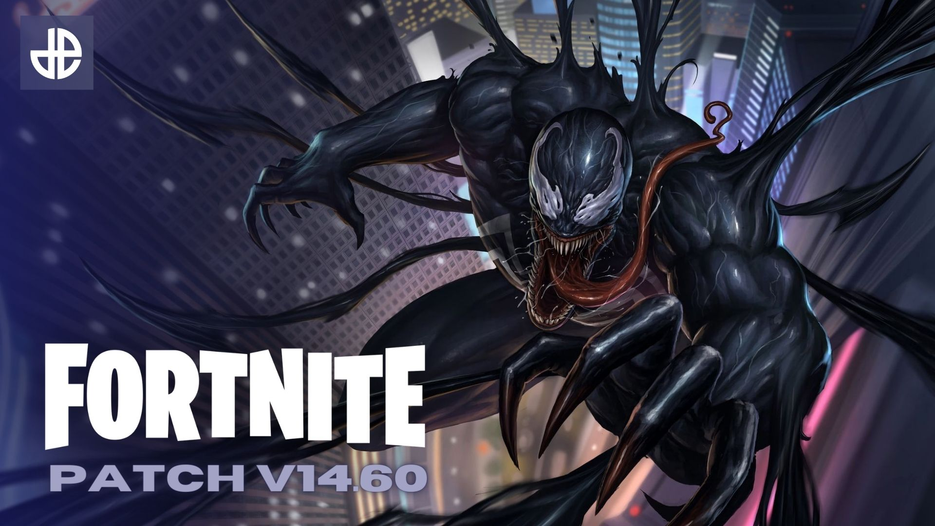 Venom dives towards a Fortnite patch 14.60 logo.