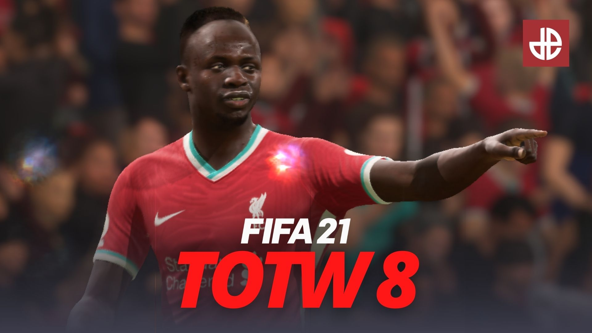 Sadio Mane points above a FIFA 21 Team of the Week TOTW 8 logo.
