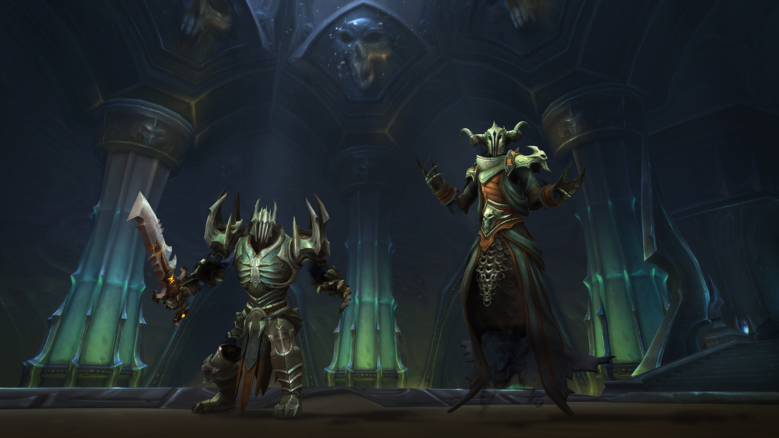 A picture of Torghast, Tower of the Damned in Shadowlands, featuring two characters
