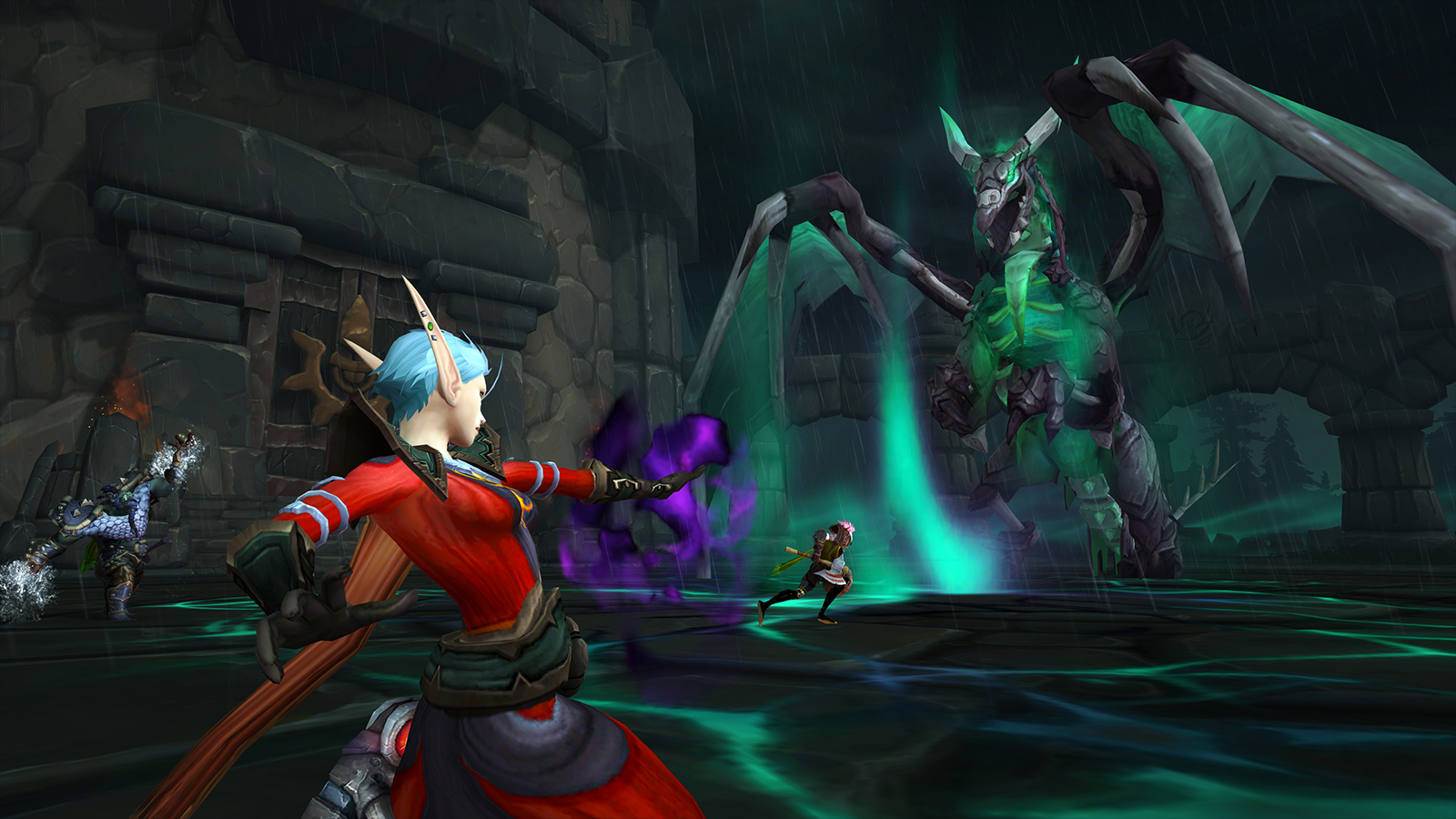 Exile's Reach photo showing a boss battle between a group of players