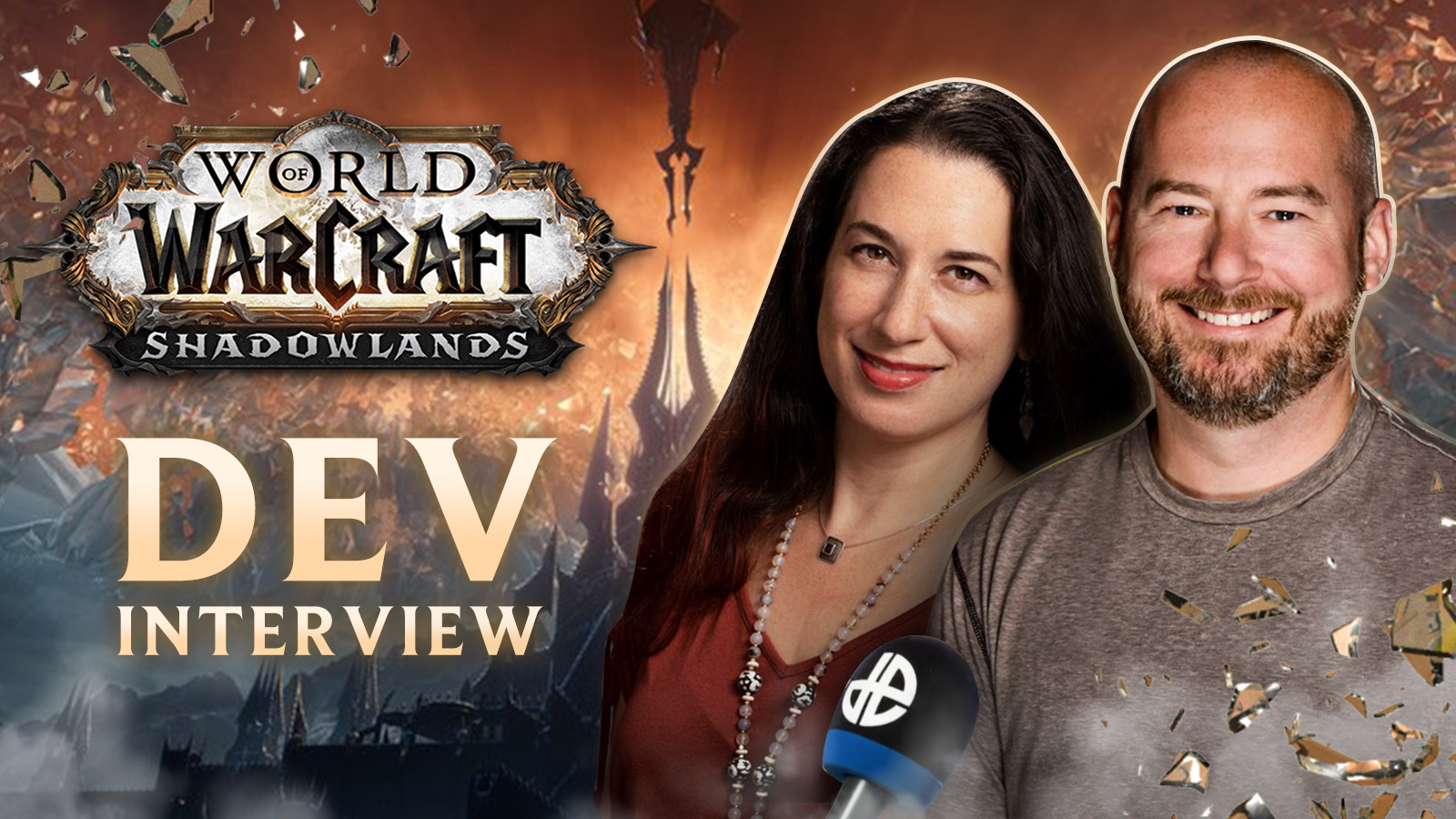 Sarah Boulian Verral and Patrick Dawson on a Shadowlands background for the dev interview