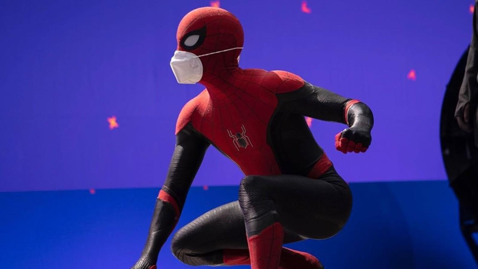 Tom Holland on set of Spider-Man 3