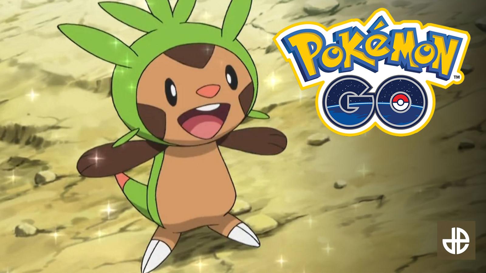 Kalos Pokemon Chespin celebrates next to Pokemon Go logo.