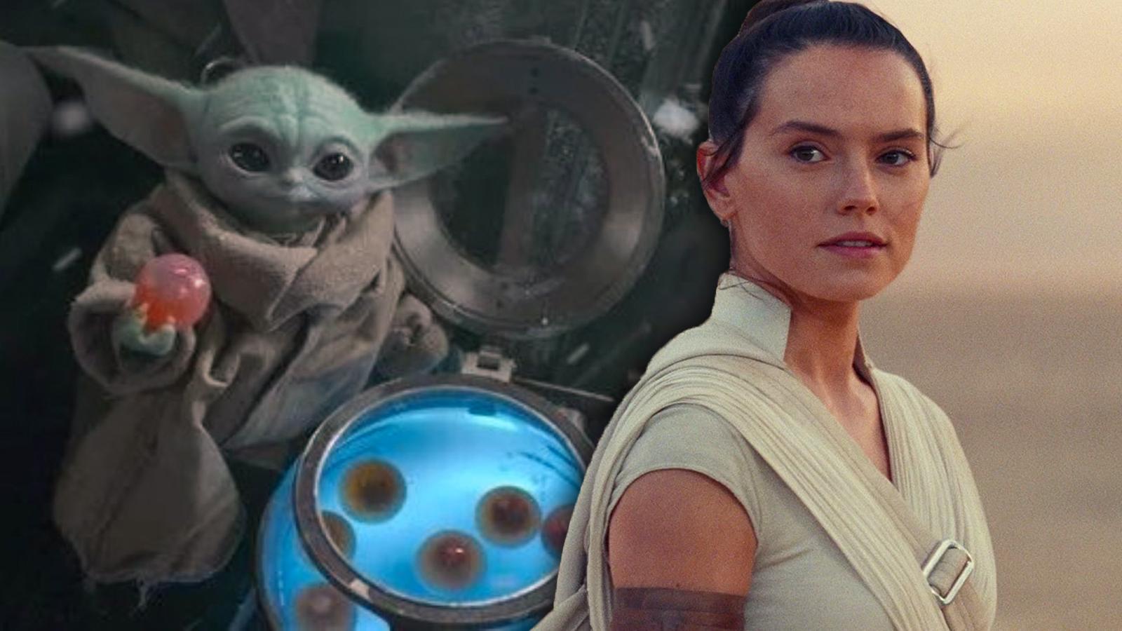 Daisy Ridley and Baby Yoda