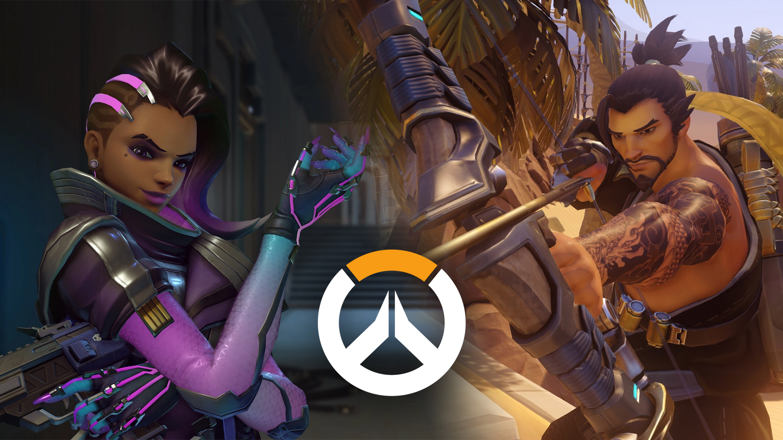 Sombra and Hanzo in Overwatch