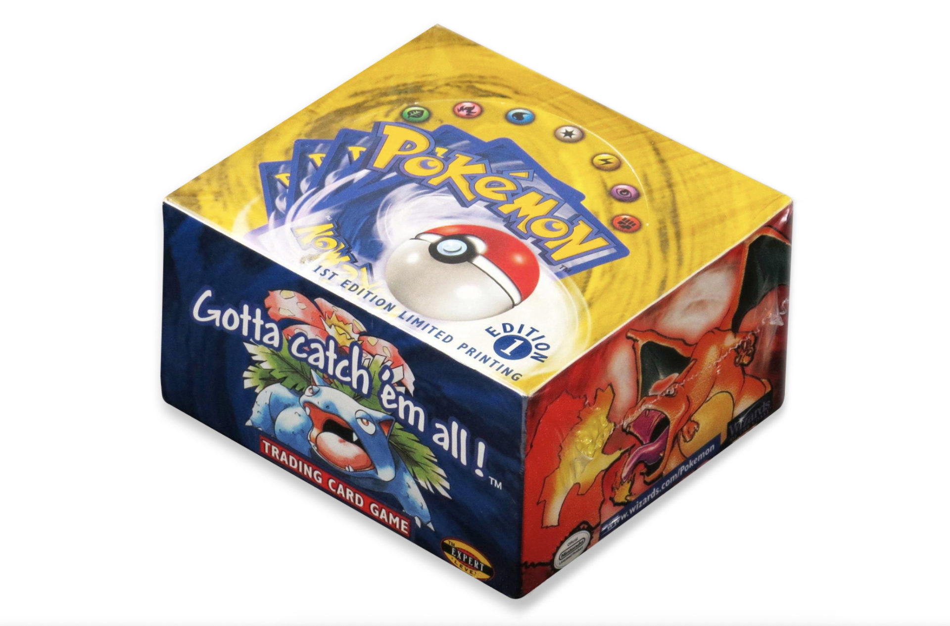 Screenshot of a 1999 1st edition booster box from the Pokemon Trading Card Game.