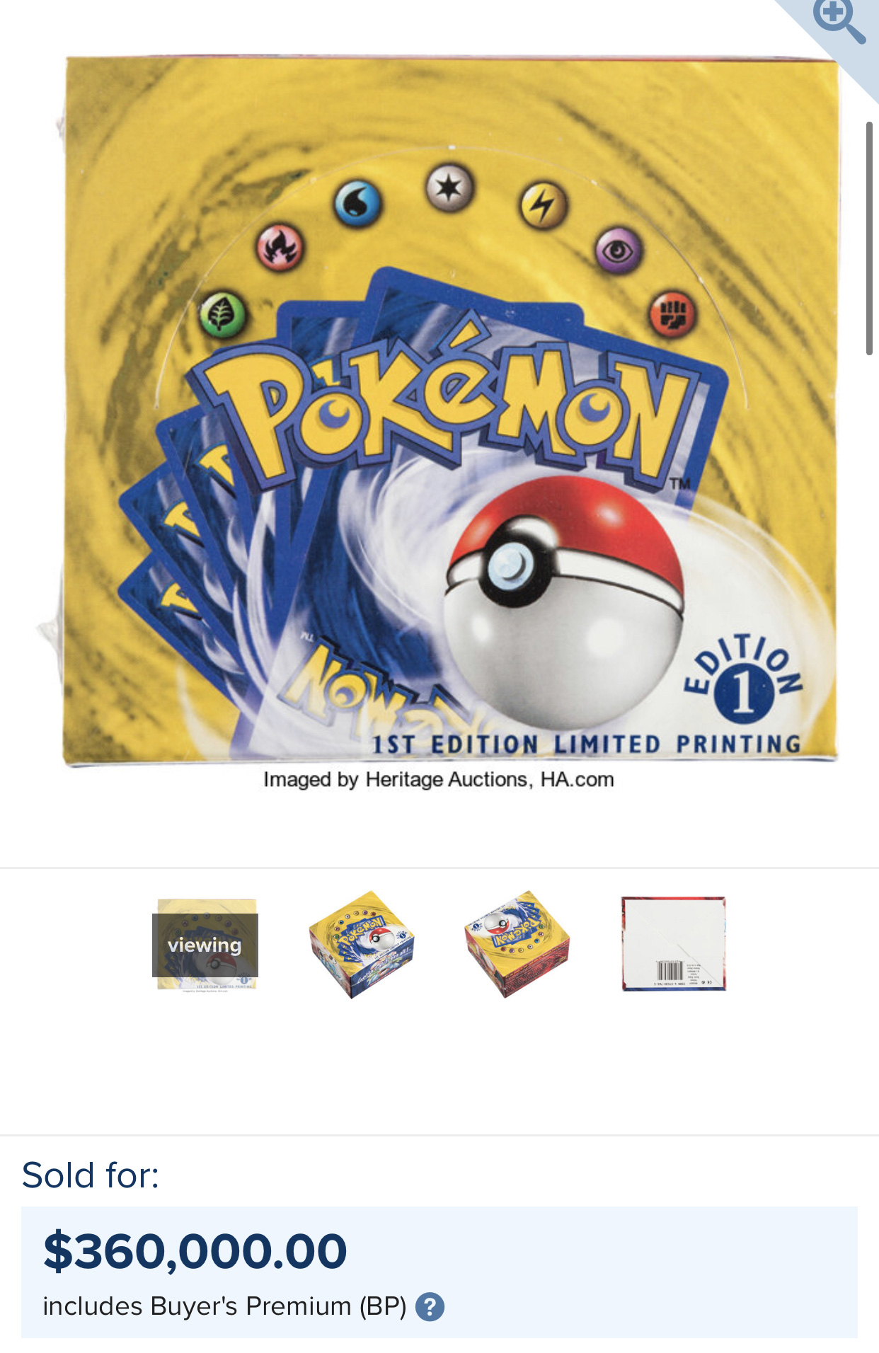 Screenshot of Pokemon card boost box selling at auction for $360k.