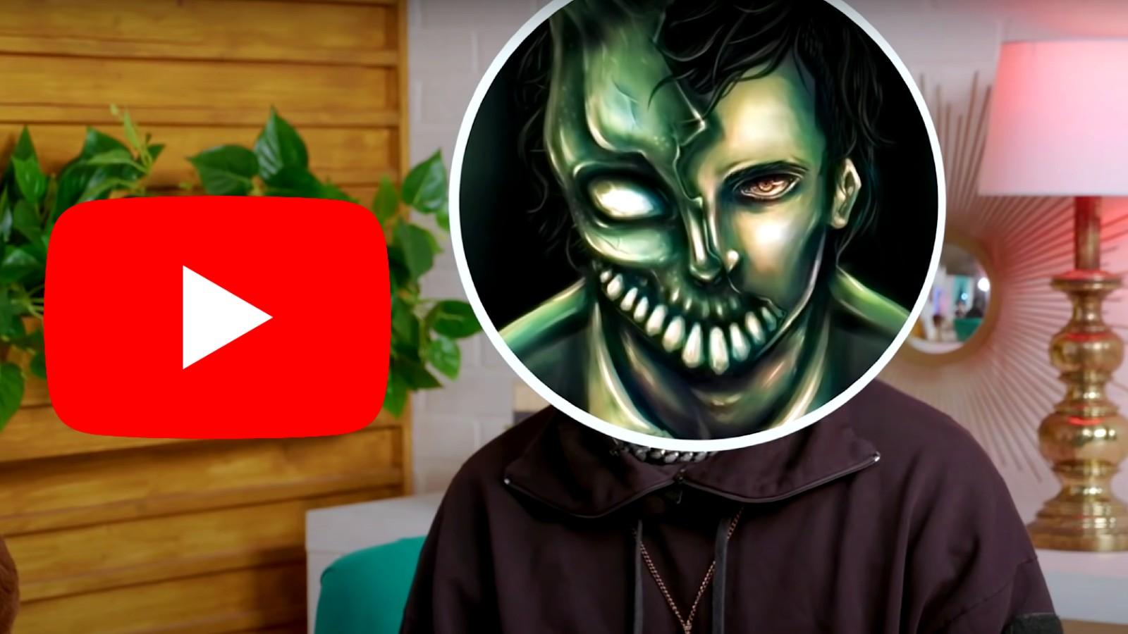 Corpse Husband's avatar next to the YouTube logo