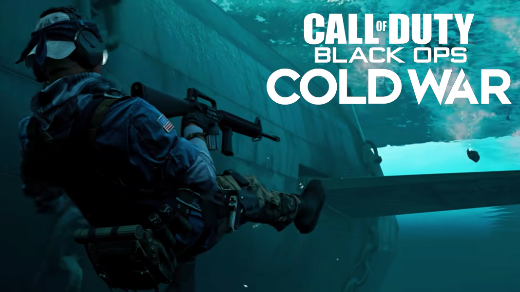 Black Ops Cold War character underwater with M16