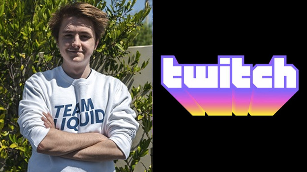 Mendo in a Team Liquid hoodie and the Twitch logo