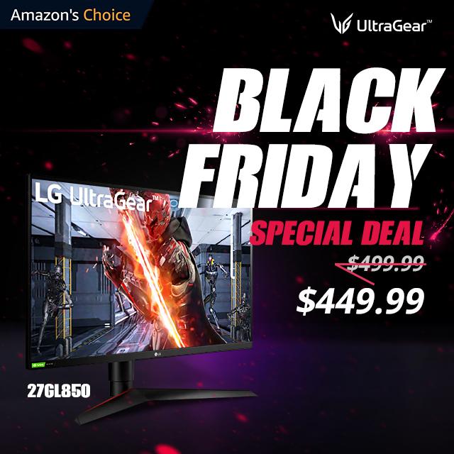 Advert for LG Ultragear Black Friday sale on Amazon.