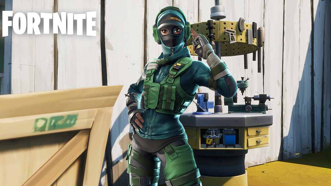 Fortnite character standing near a workbench