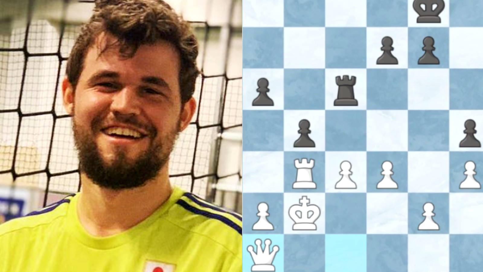 Magnus Carlsen next to an online chess board