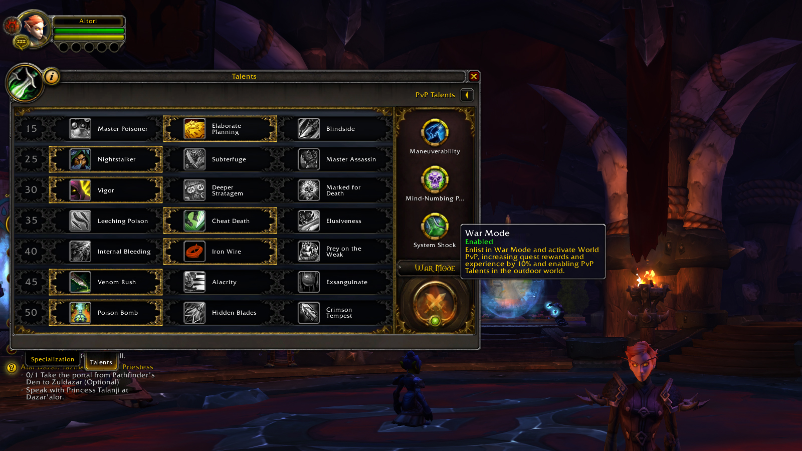 An image showing War Mode in World of Warcraft in the Talents panel