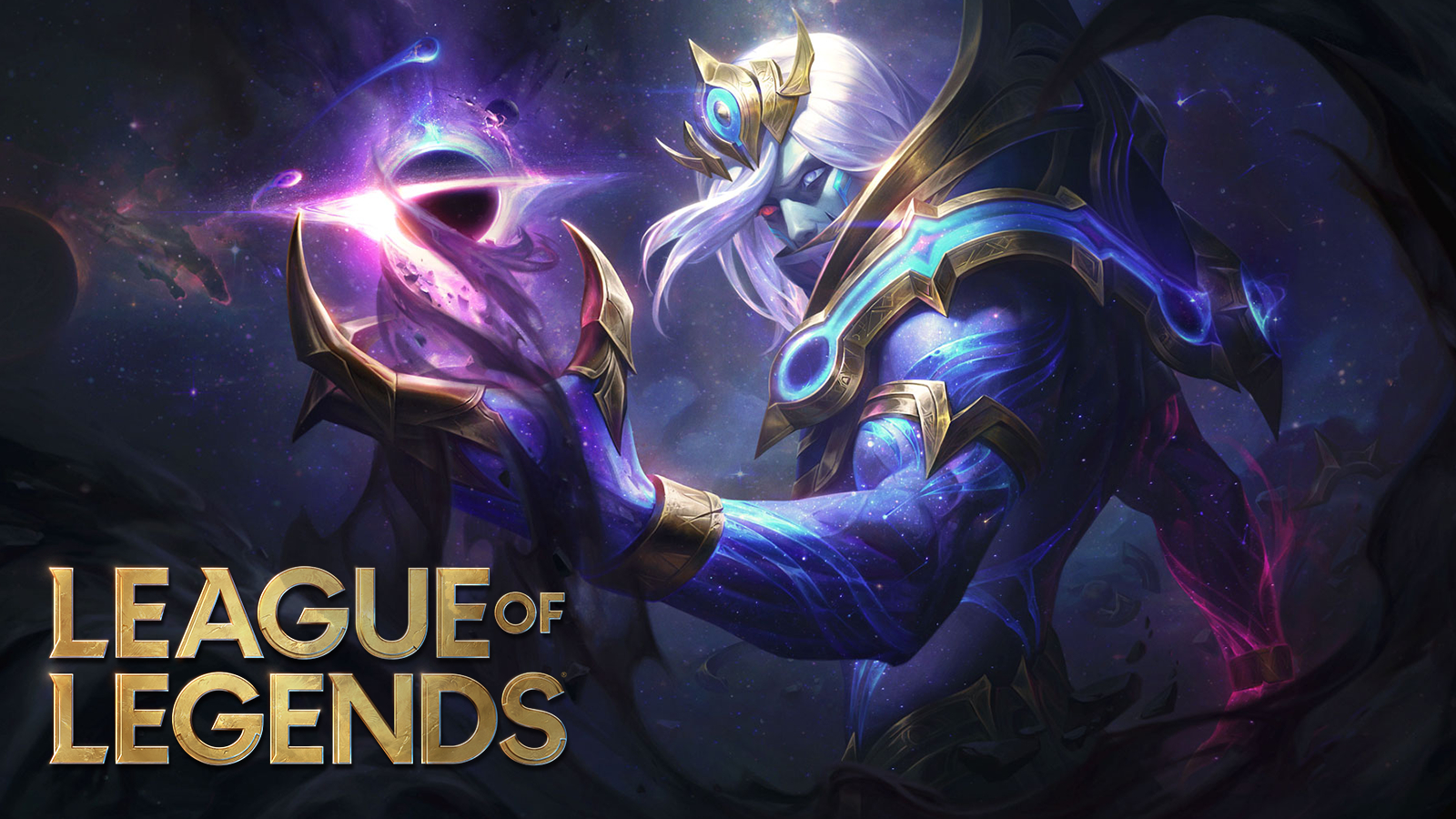 New League patch 10.24 cosmic Vladimir skin stands in front of LoL logo.