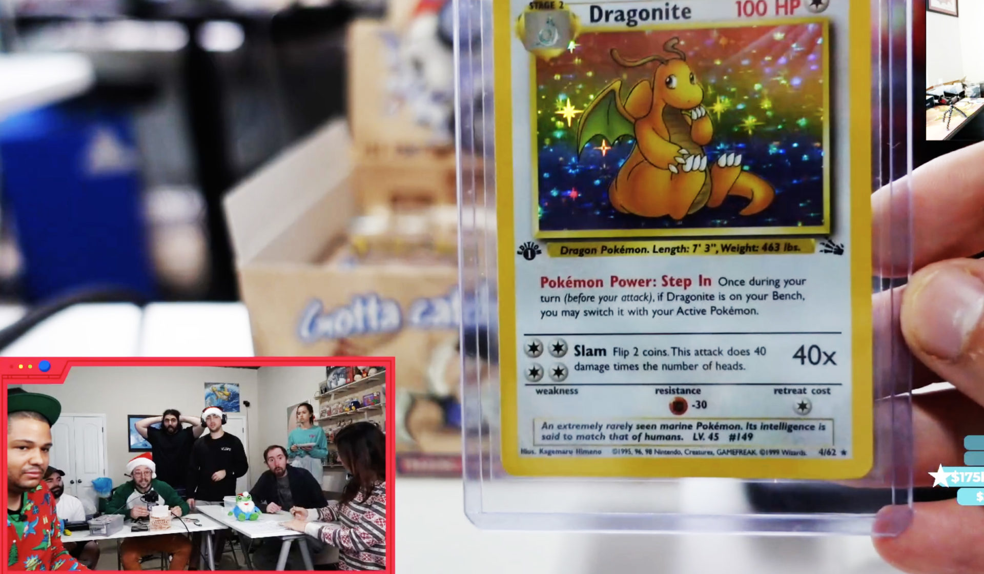 Twitch streamers react to Dragonite card during Pokemon broadcast.