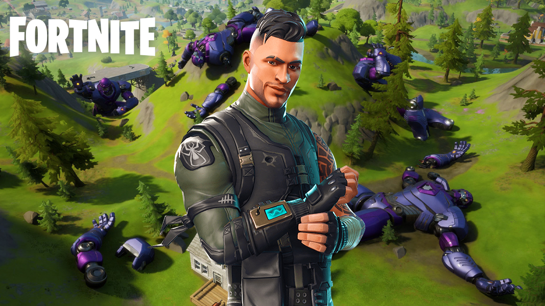 Fortnite skin stood near the downed sentinels
