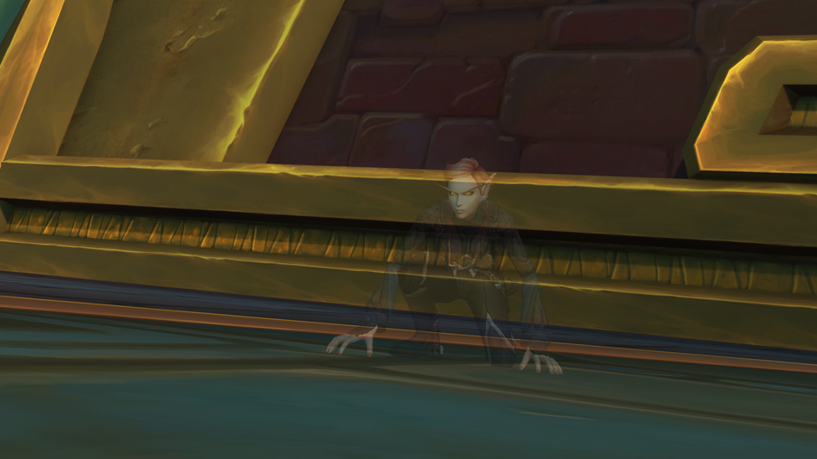 Blood Elf Rogue in Zandalar, crouching while in stealth