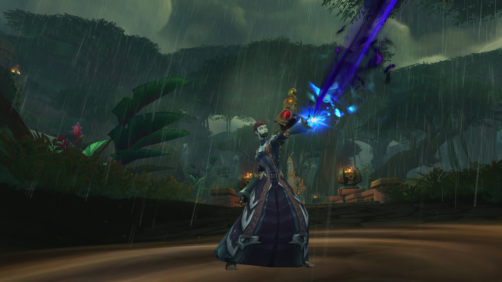 An Undead Mage in WoW casting a spell in Zandalar